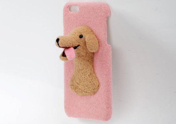 Needle Felted Animal Phone Cases, Needle felt dog, The three-dimensional Labrador, Creative products design for iPhone, iPhone 6/7