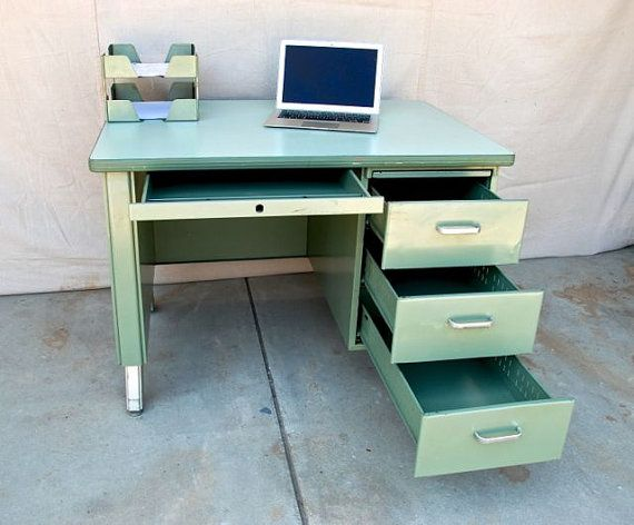 vintage metal office desk. vintage metal single pedestal tanker desk 18000 via etsy office