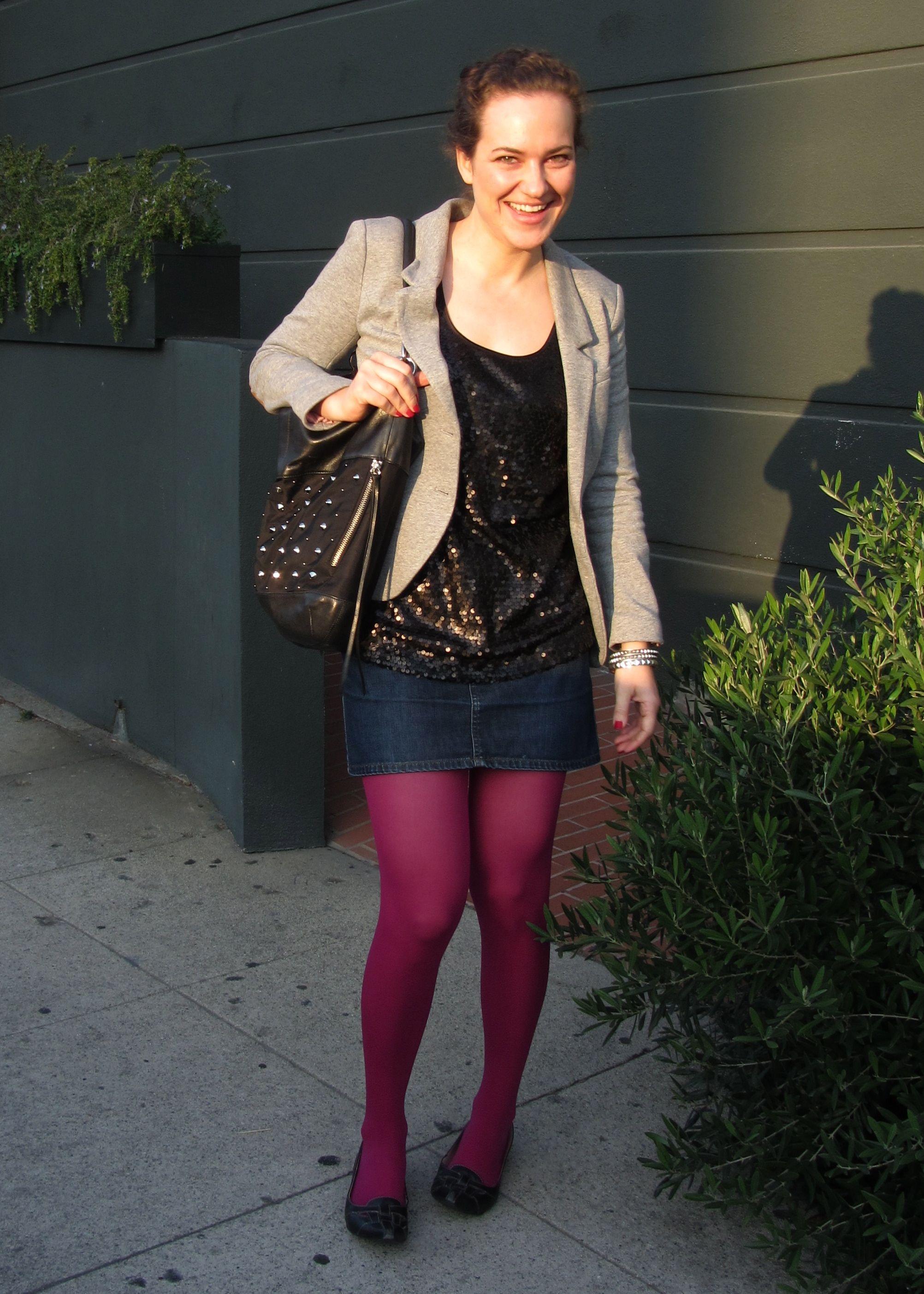 wine tights denim skirt coloured tights