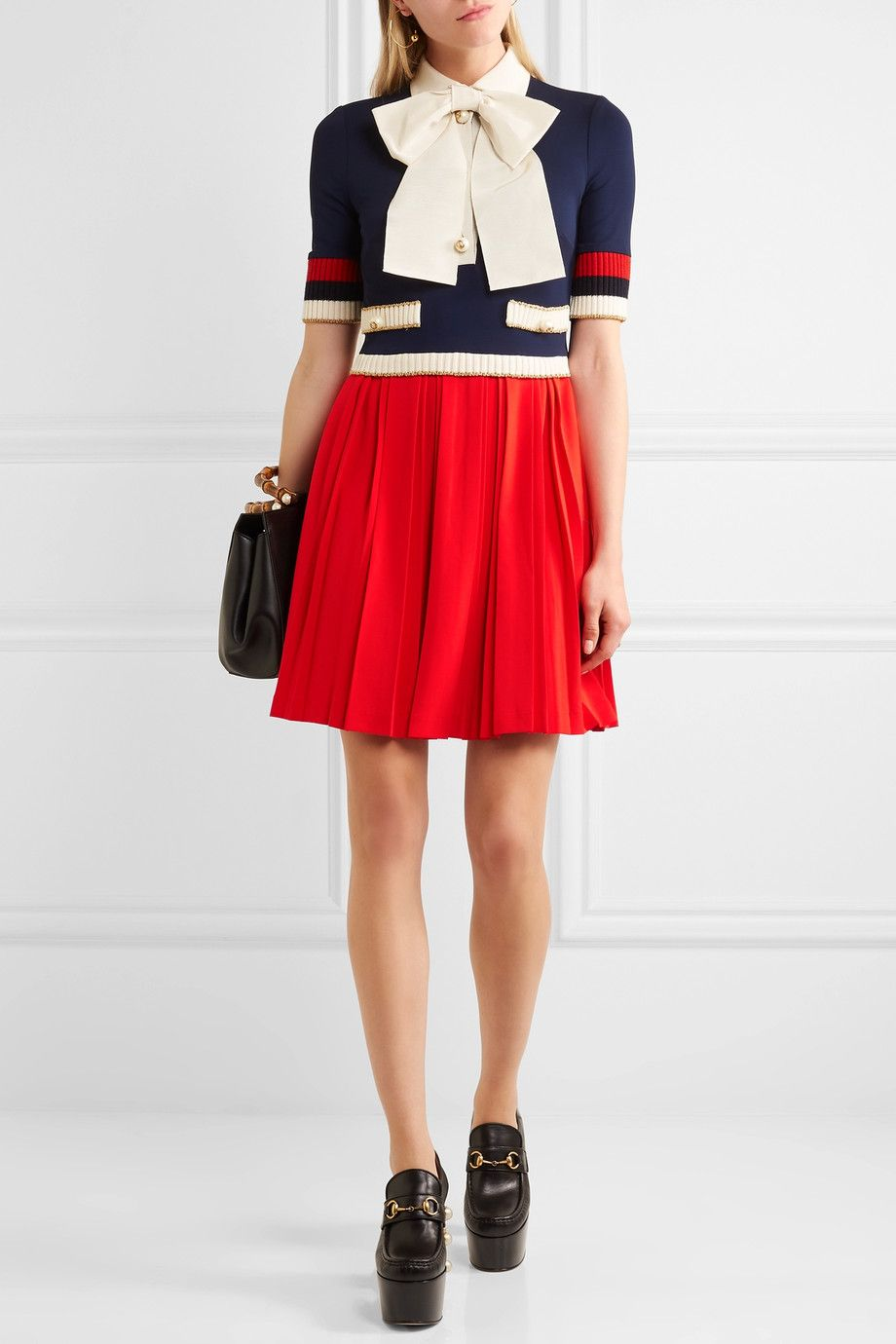 Gucci Bow Detailed Ribbed Knit Trimmed Pleated Stretch Crepe Mini Dress Net A Porter Com