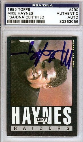 Mike Haynes Autographed/Hand Signed 1985 Topps Card PSA/DNA #83363056 by Hall of Fame Memorabilia. $62.95. This is a 1985 Topps Card that has been hand signed by Mike Haynes. It has been authenticated by PSA/DNA and comes encapsulated in their tamper-proof holder.