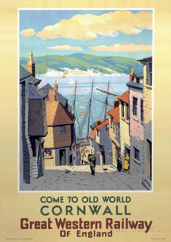 Cornwall Vintage Style Travel Poster Impressão de alta qualidade