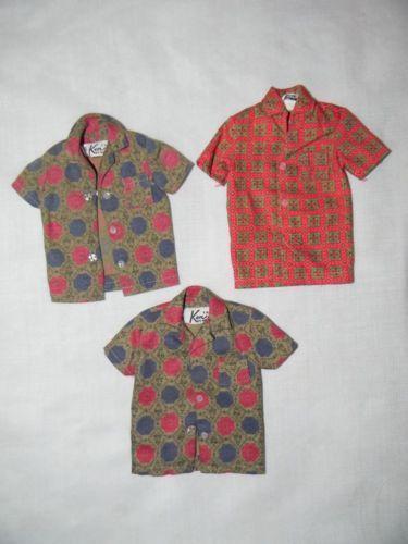 1962 Vintage Ken Fashion Pak 3 Sport Shirts 2 Variations Barbie Mattel Doll Clothes Sports Shirts Clothes