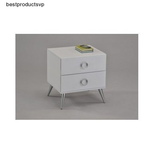 Ebay Bedside Table White Modern Bedroom Wood Nightstand Chrome Legs With Drawers Two Unbranded