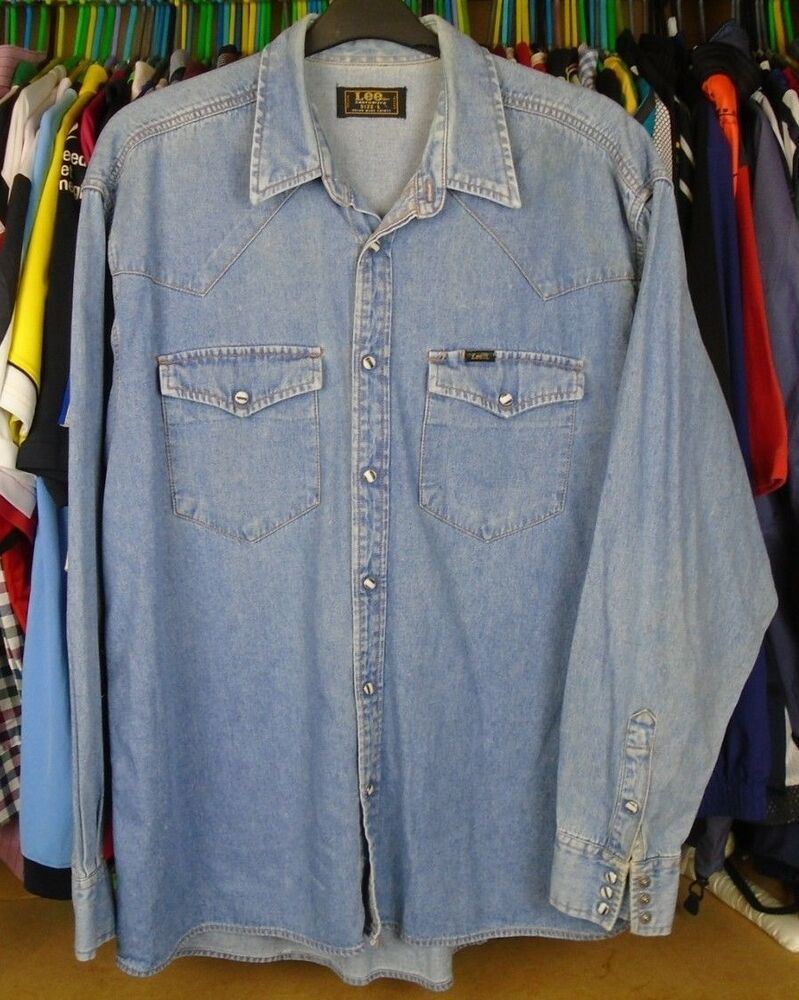 11366bdbfa6 Vintage Lee Jeans Sanforized Stonewash Blue Denim Western Shirt Large Adult   fashion  clothing  shoes  accessories  mensclothing  shirts (ebay link)