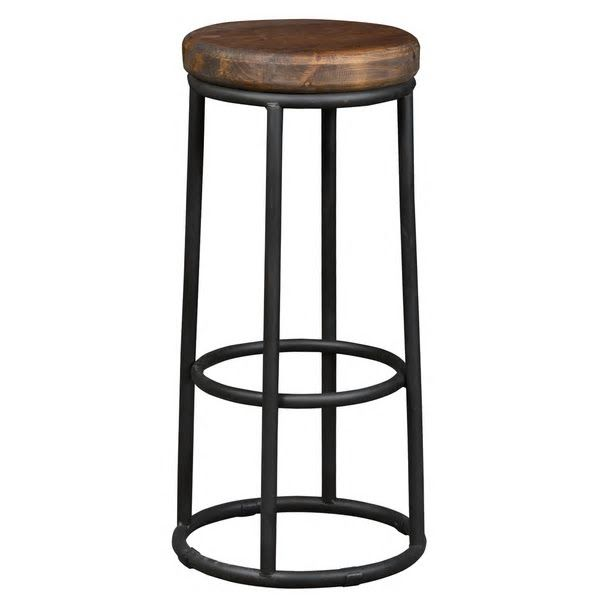 Sensational Rustic Farmhouse Style Wood And Metal Round Barstool Sale Beatyapartments Chair Design Images Beatyapartmentscom