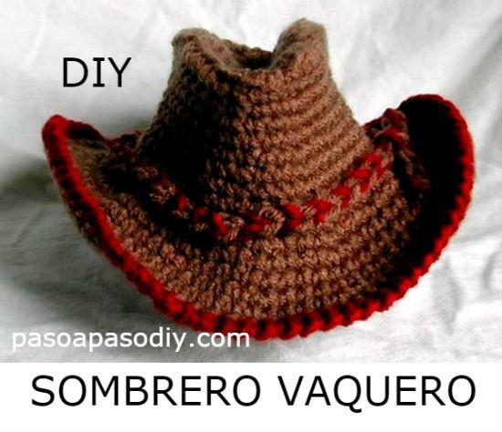 ed43bcf8f03f7 Sombrero vaquero tejido a crochet