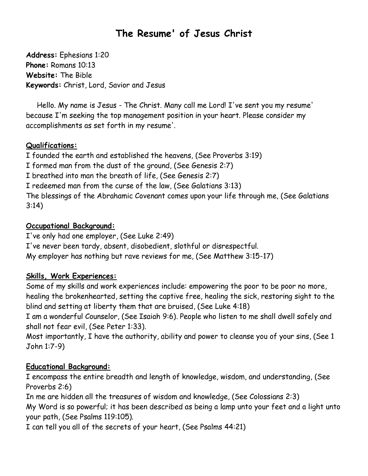 The Resume of Jesus Christ | My Rock | Pinterest | Intercession ...
