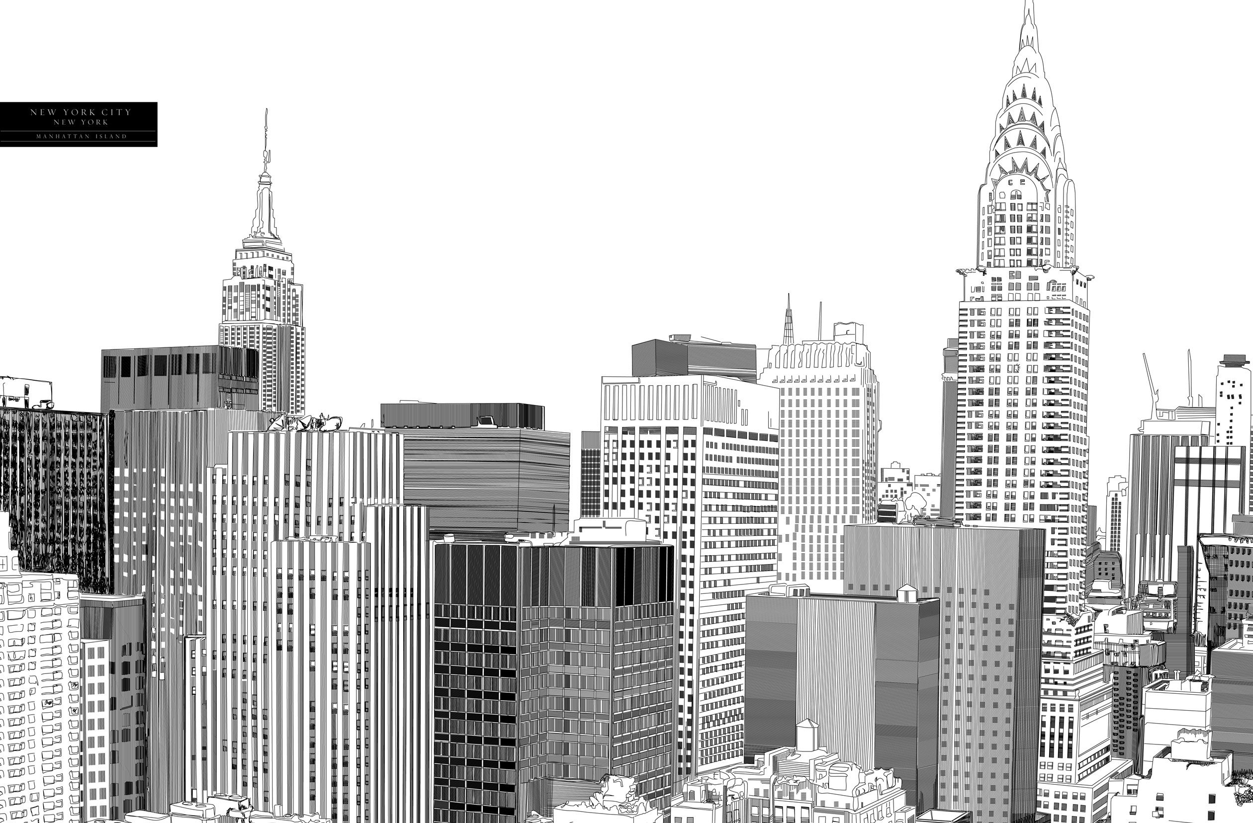 New York City Skyline Sketch Handdrawn Stock Vector 585852449 ...
