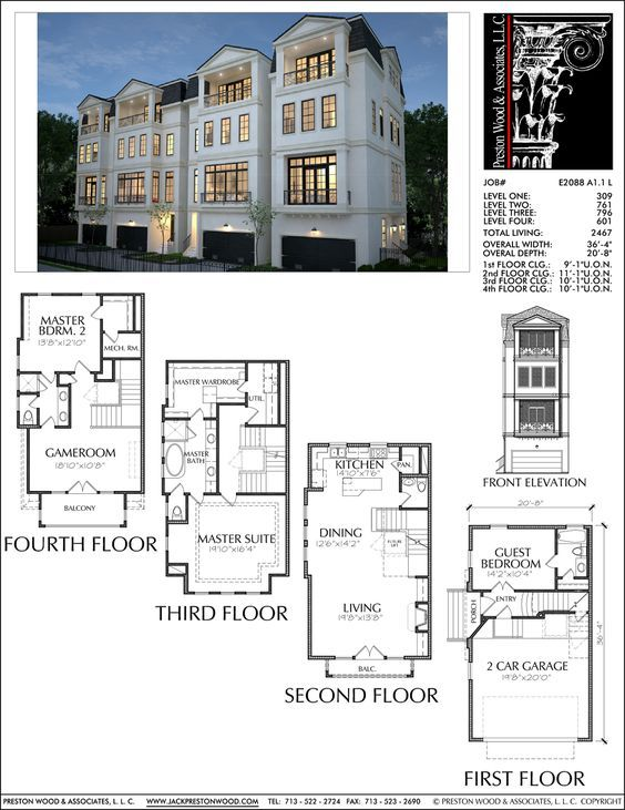 Four Story Townhouse Plan E2088 A1 1 Brownstone homes