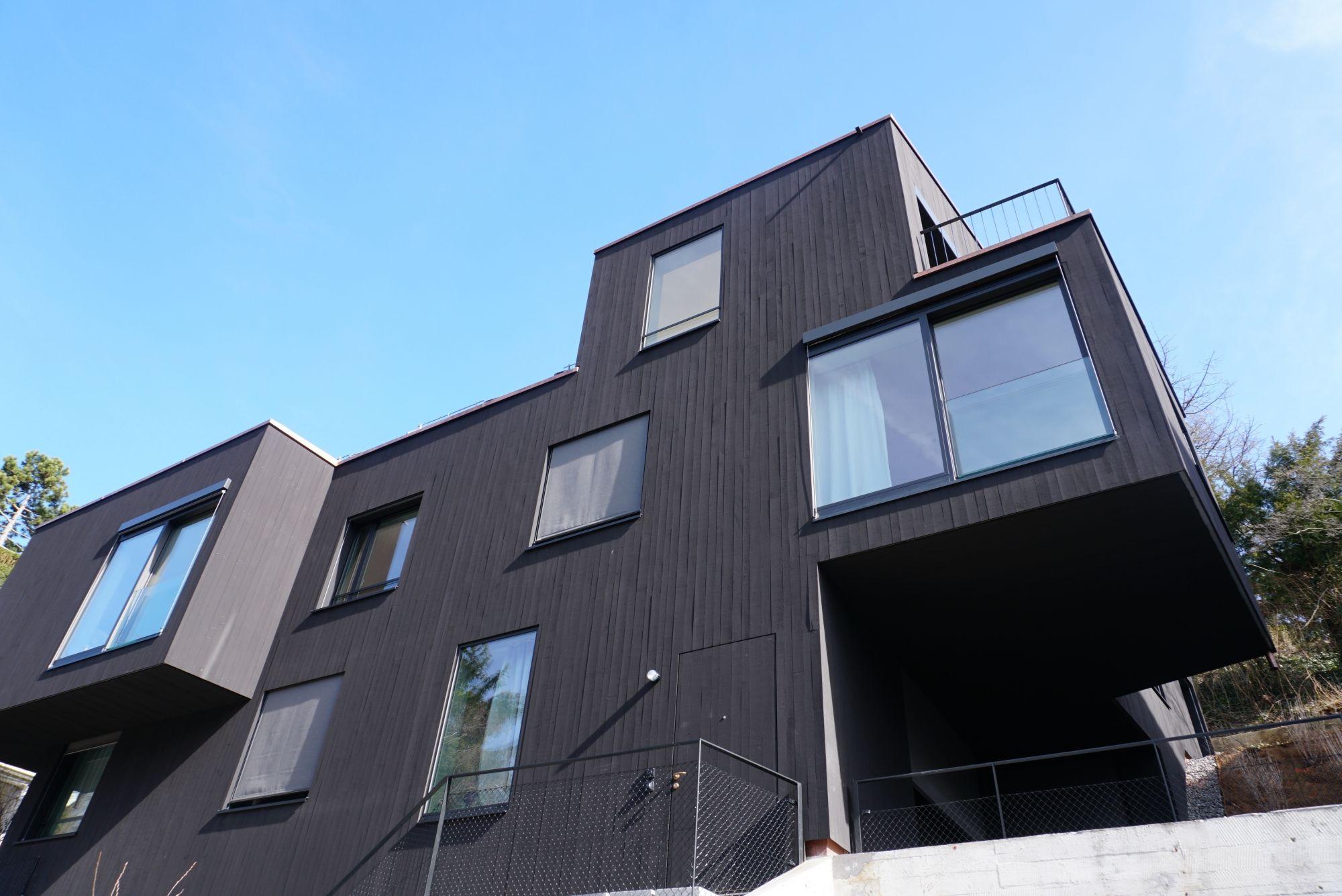 Fassade Mit Erker Und Schalung Aus Holz Mit Schwarzer Schlammfarbe