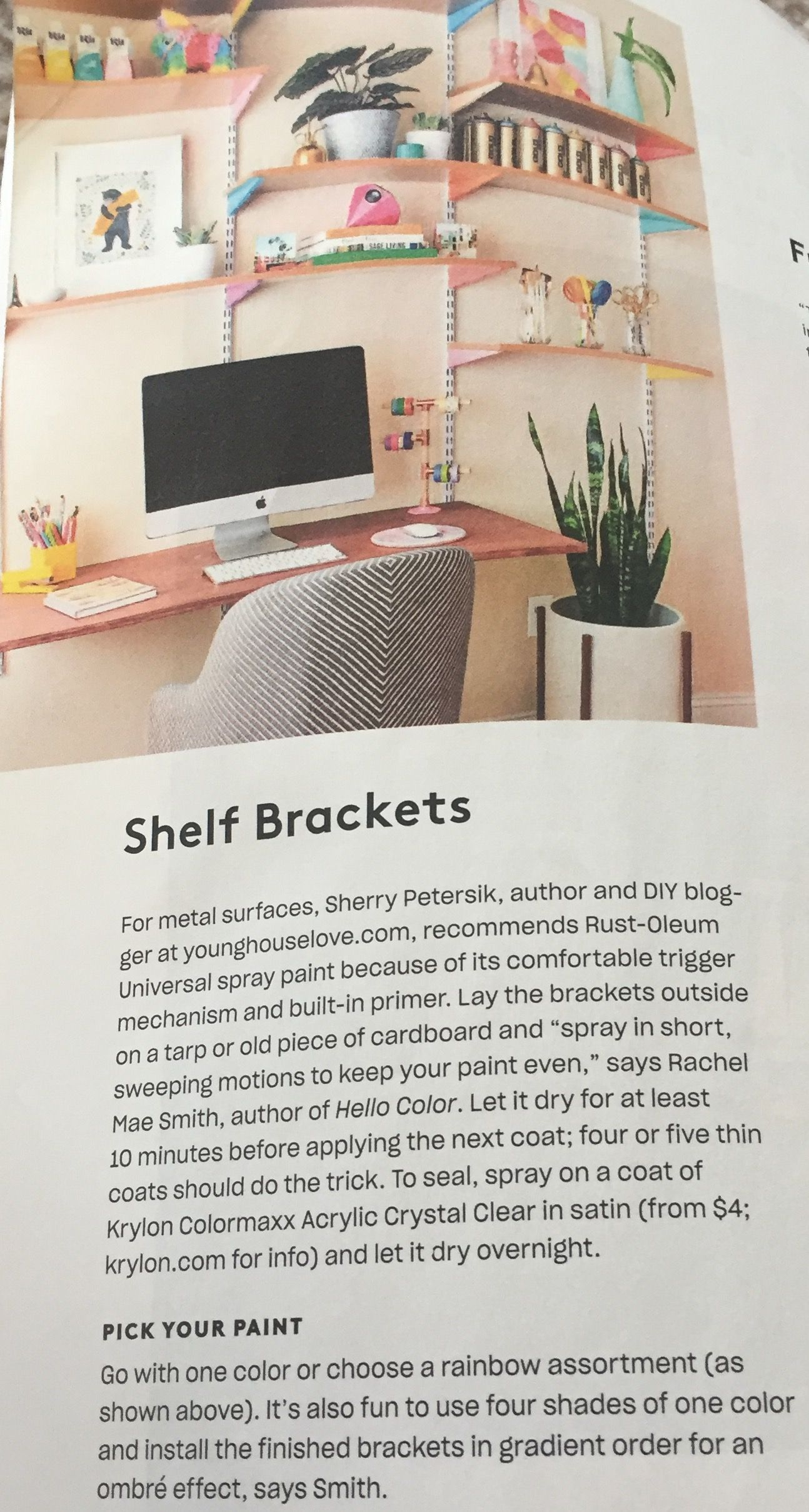 Add color to a room by painting shelf brackets different colors for