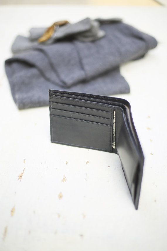 Black Leather coin pocket wallet, Valentine gifts,  valentine gifts for him, groomsmen gifts,wedding gifts, gift for him