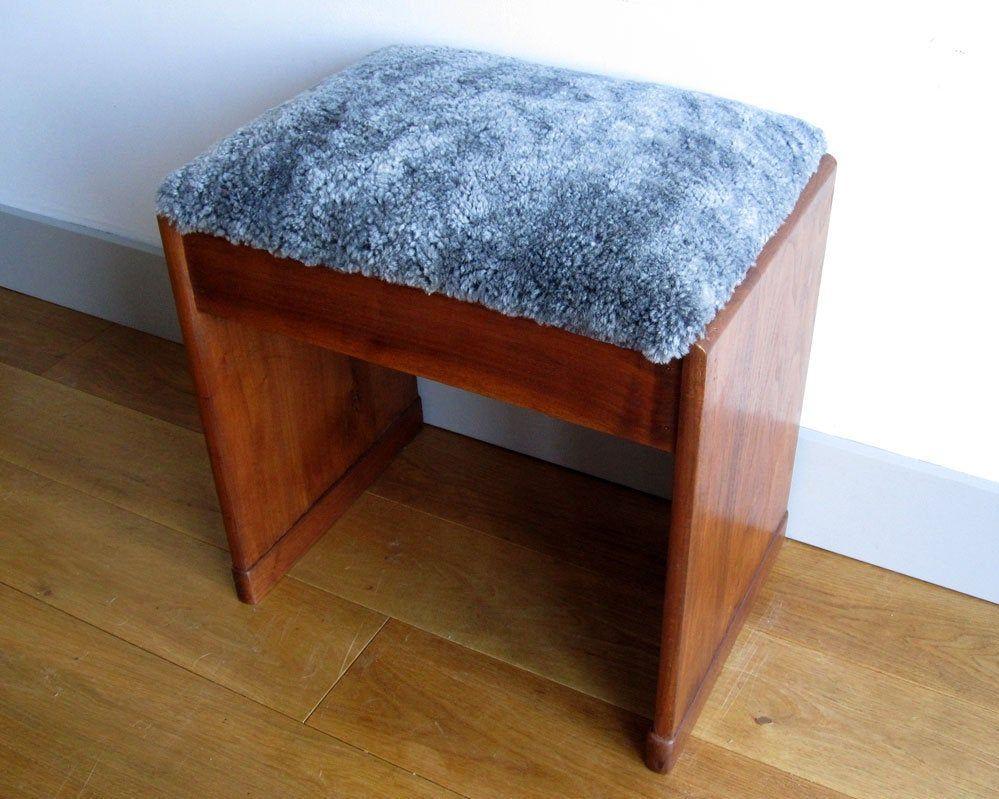 Sheepskin Upholstered Piano Stool With Storage Refurbished
