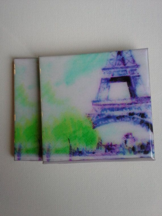 Paris set of 2 coasters by sylvia1q on Etsy, $12.00