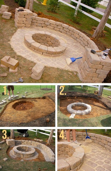 Stone Firepit With Half Wall For The Home In 2019 Fire Pit