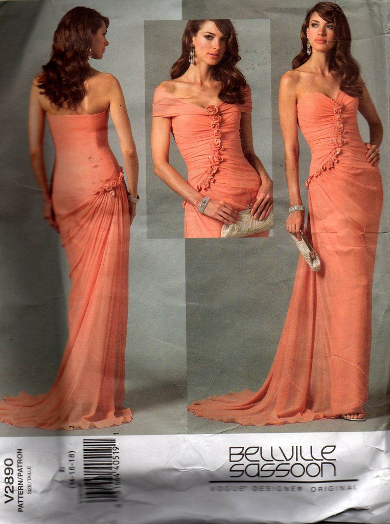 Vogue Designer Original 2890 BELLVILLE SASSOON Womens Draped Evening ...