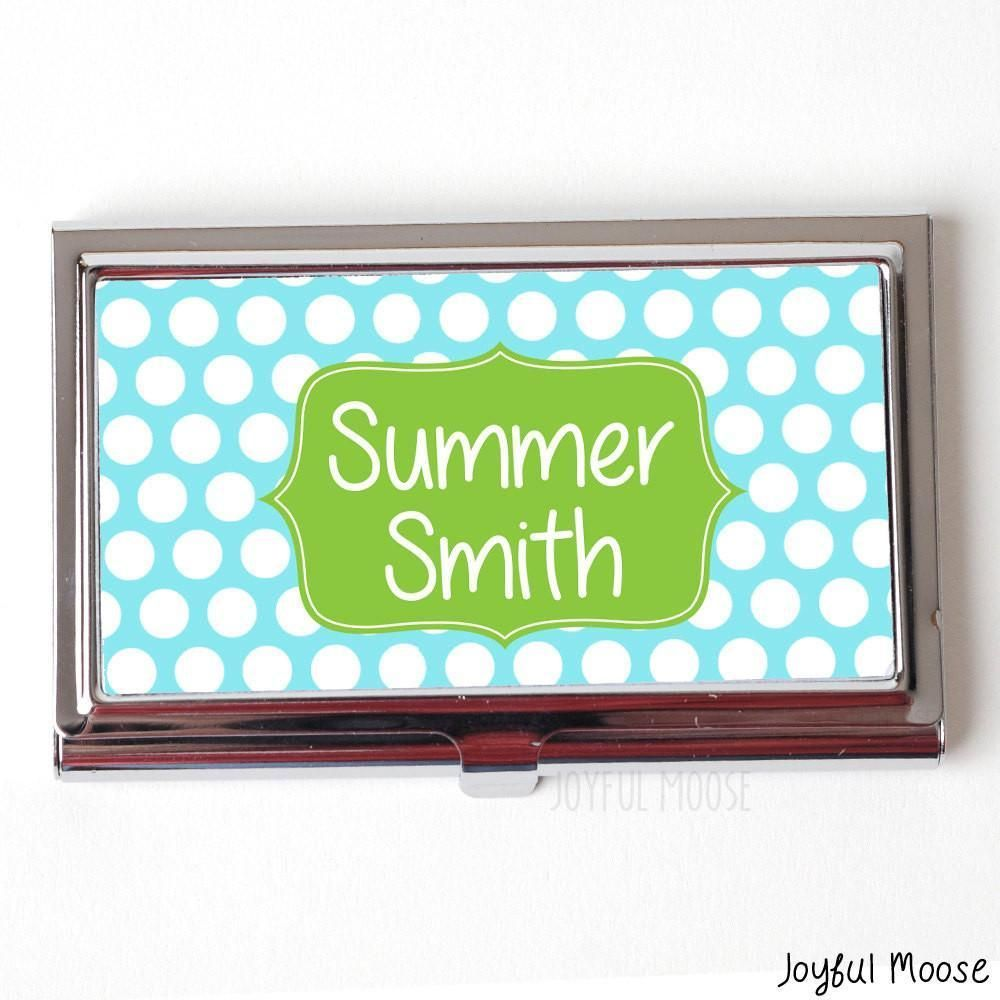 Personalized Business Card Case - Blue Pastel Business Card Holder ...