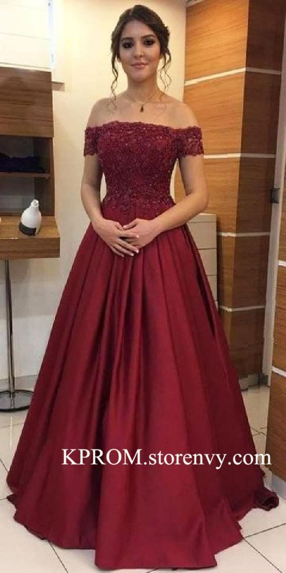 Modest Burgund Prom Kleid, Lace Applique Long Formal Dress mit kurzen Ärmeln, Off Shoulder Girls Prom Dresses