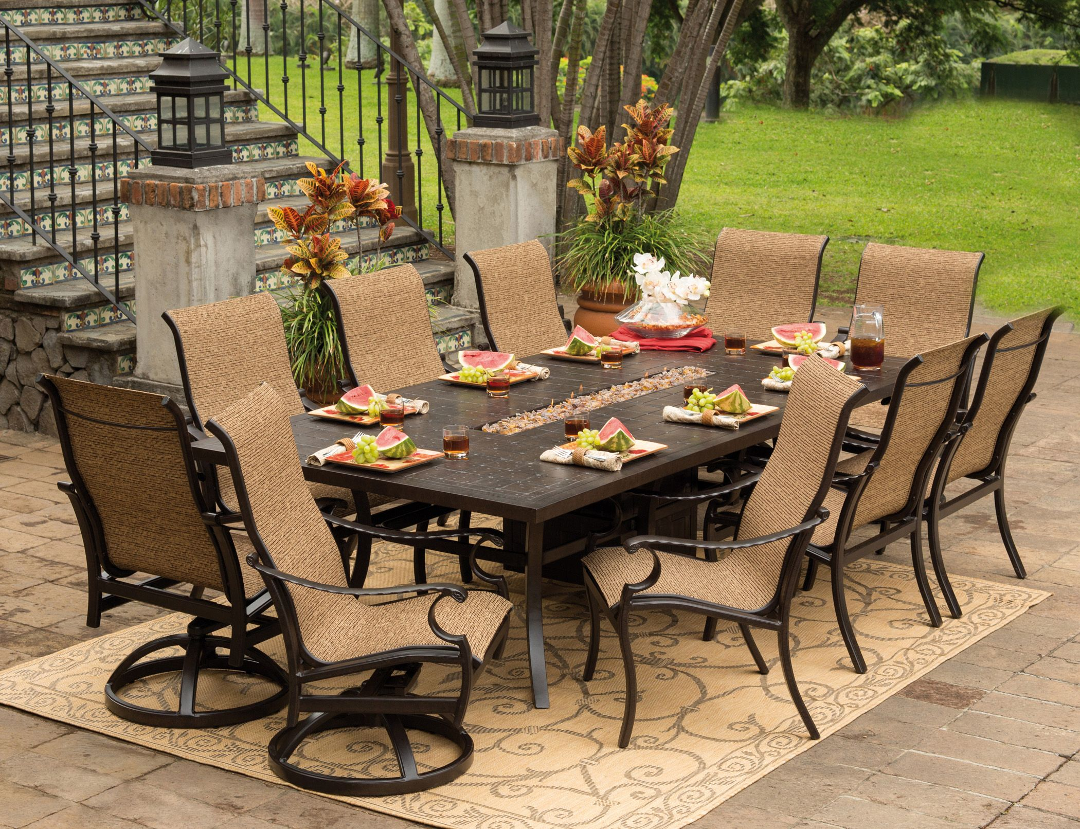 Fire Feature Dining Table From Pride Family Brands With Sling