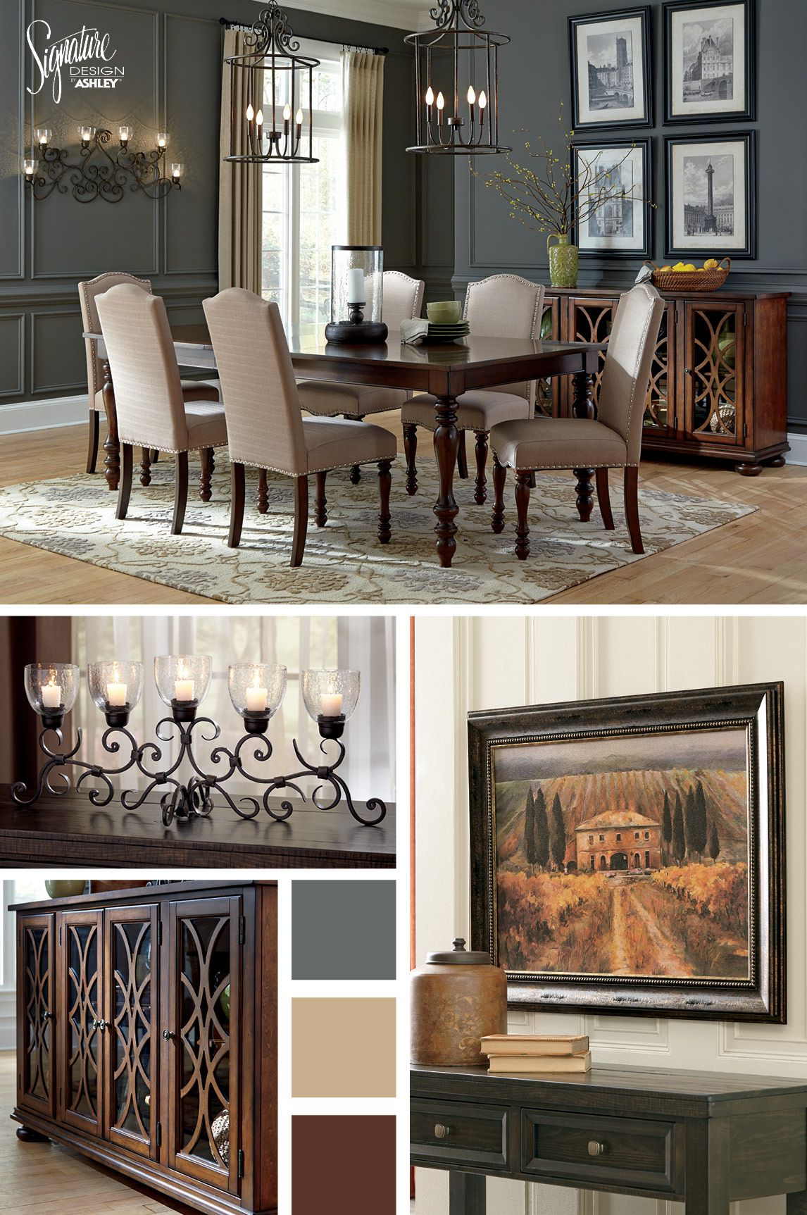 Sit Pretty And Satisfy Your Craving For Traditional Style With The Baxenburg Dining Set The Upholst Ashley Furniture Dining Ashley Furniture Dining Room Decor