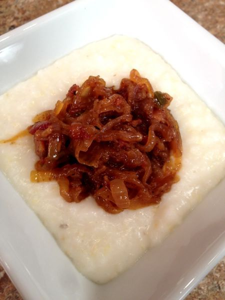 Grits with Spicy Bacon Onion Jam. fabulous :)