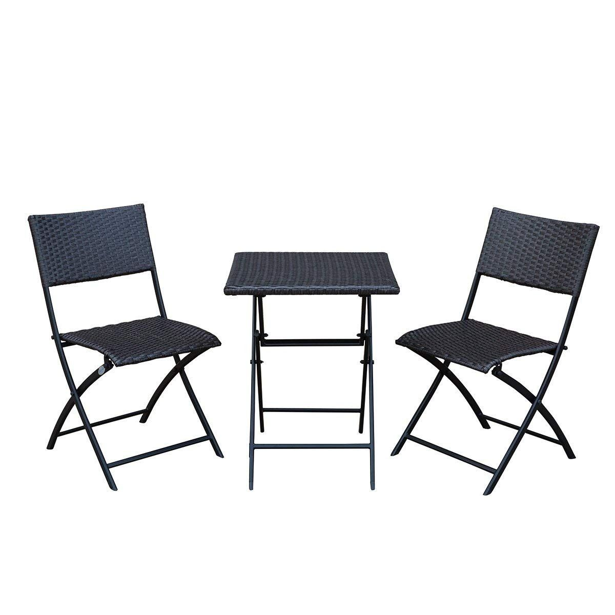 3 Piece Sunlife Bistro Set 3 Folding Square Table 2 Chairs Outdoor Patio Furni Outdoor Folding Table Wicker Patio Furniture Outdoor Furniture Sets