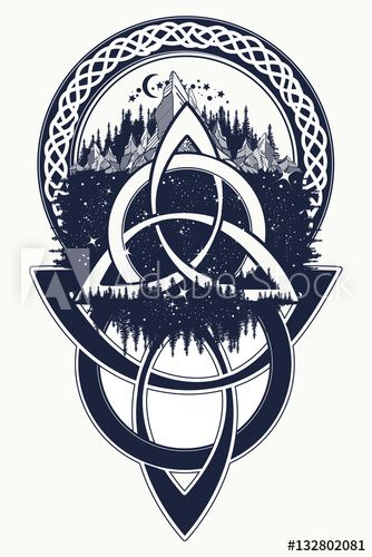 celtic knot tattoo mountain forest symbol travel