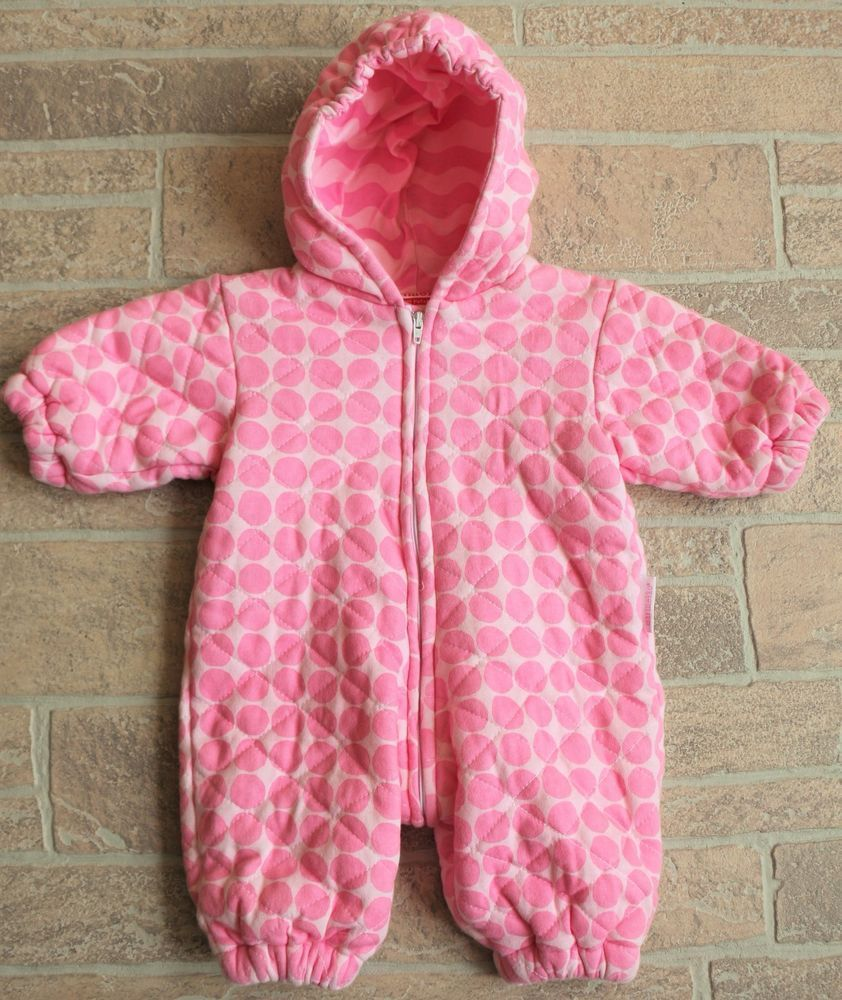 2ae533eb381d Marimekko Pink Polka Dot Quilted Cotton Snowsuit Bunting Baby Girl ...
