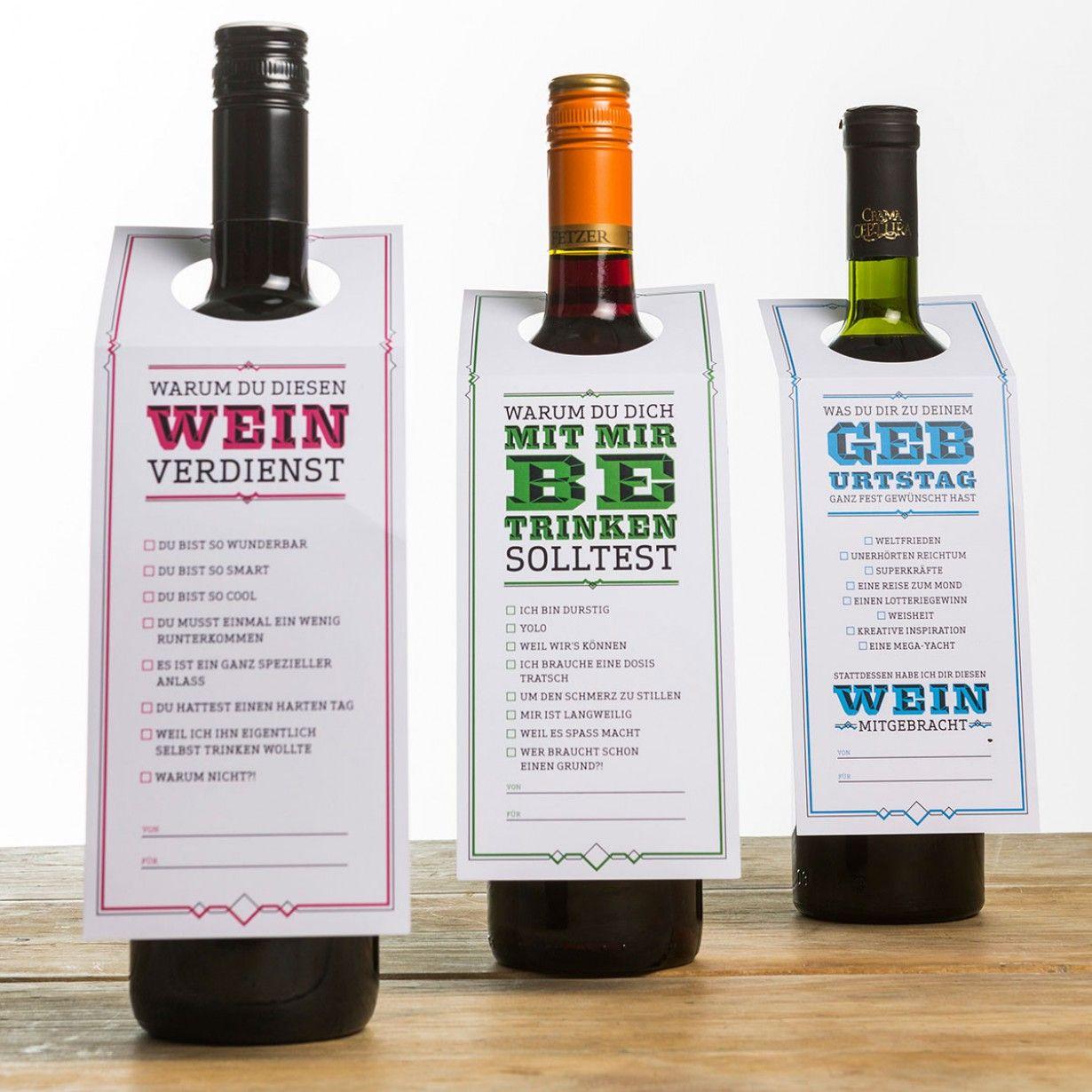 Geschenk-Etiketten für eine gute Flasche Wein | Tani | Pinterest ...