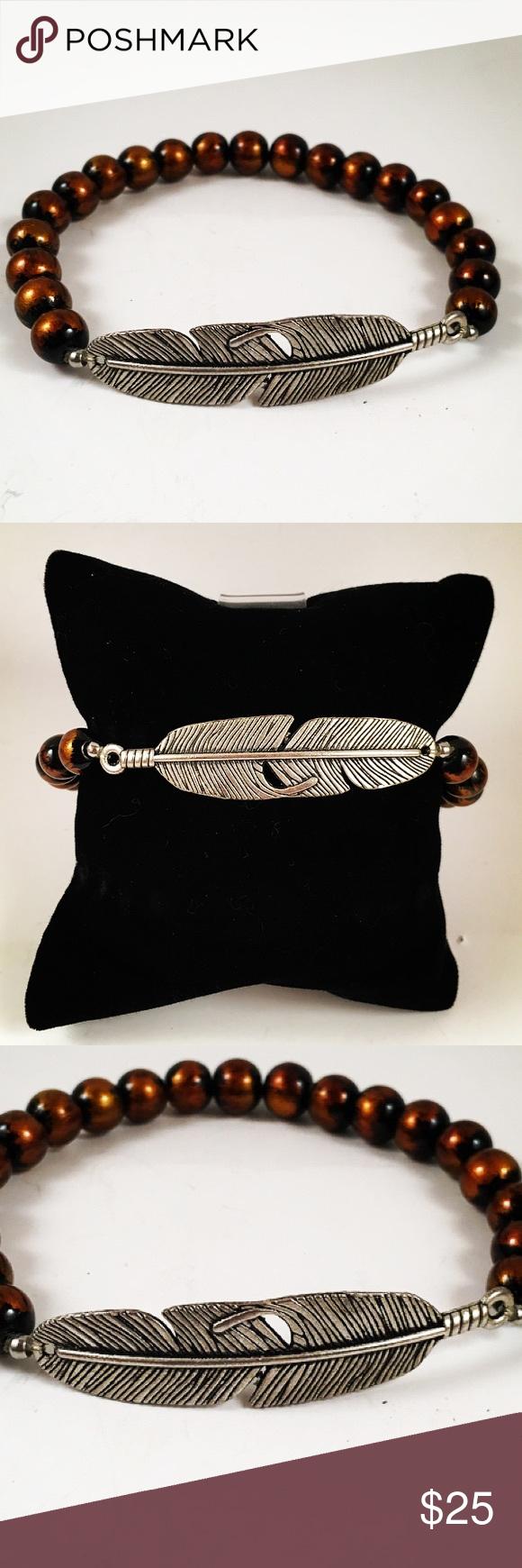 Men orange and black beaded feather bracelet boutique men bead