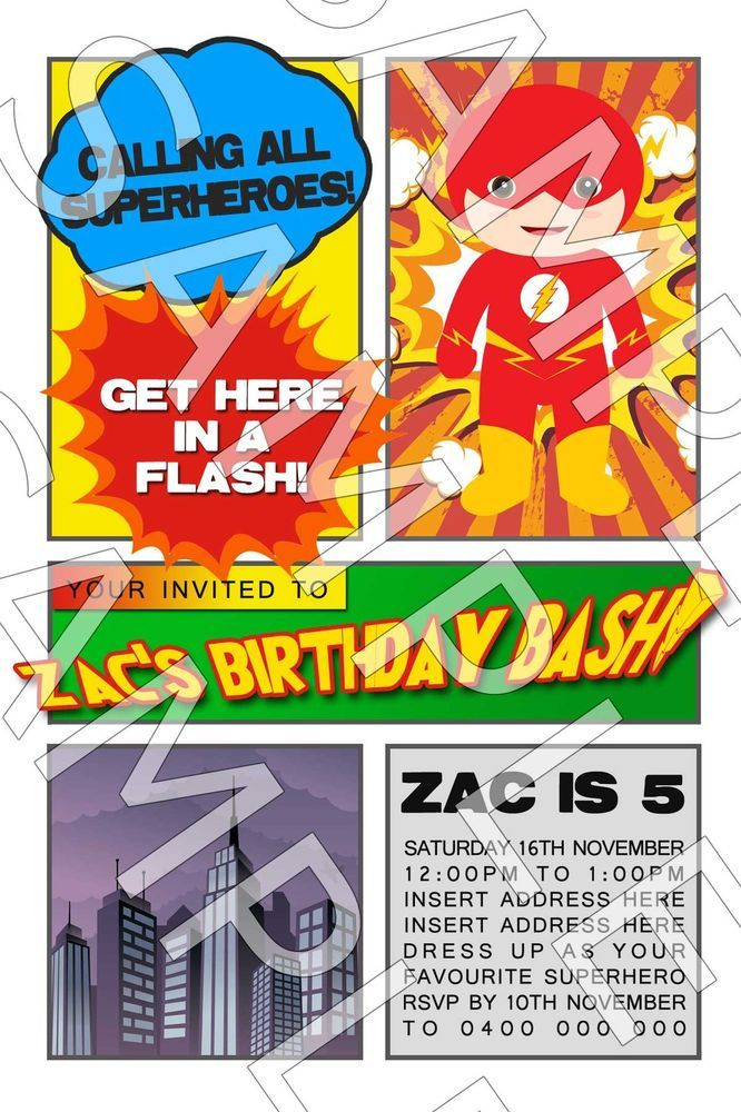Personalised Boys Superhero Hero Flash Birthday Party Invite ...