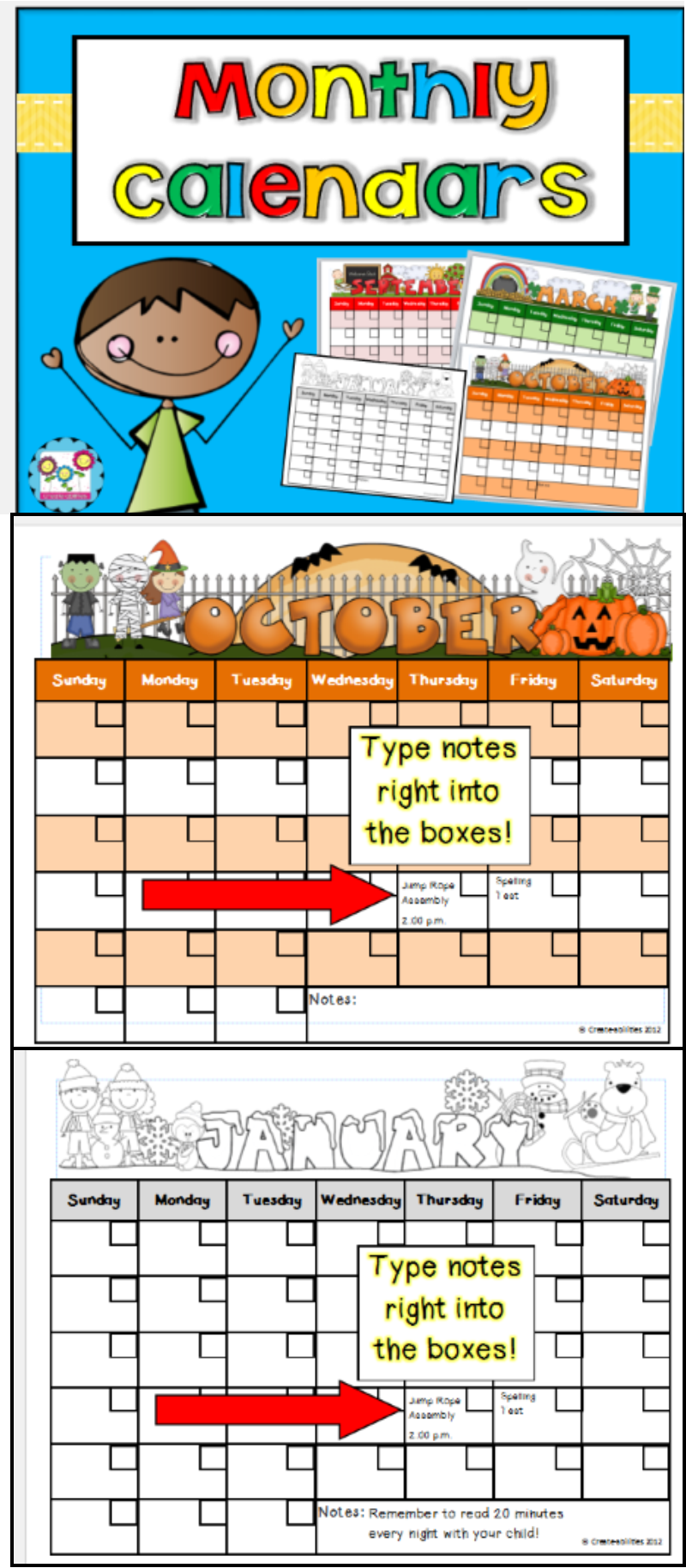 Monthly Calendar Templates Editable  Box School And Classroom