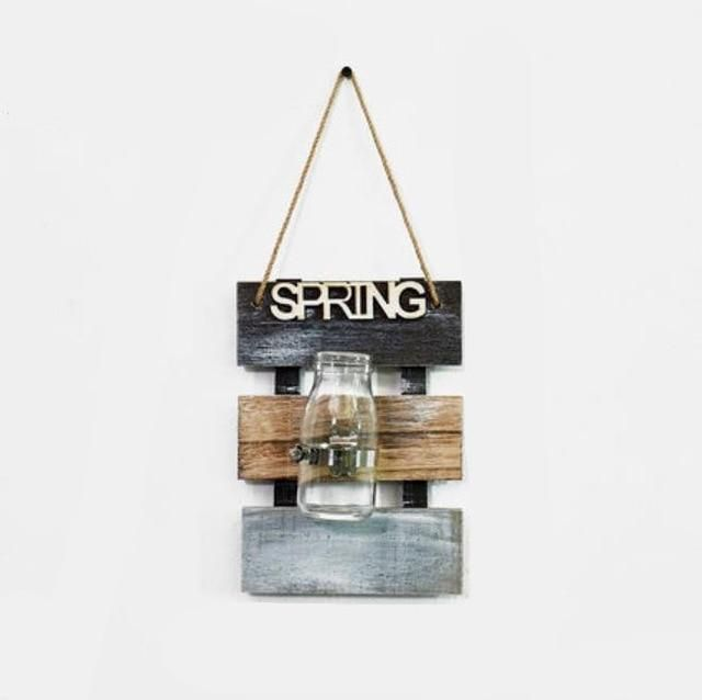 Photo of Nordic Creative Wall Hanging Glass Hydroponic Plants Vase with Wooden Base Flower Pot Scindapsus Container Home Wall Decoration – Spring