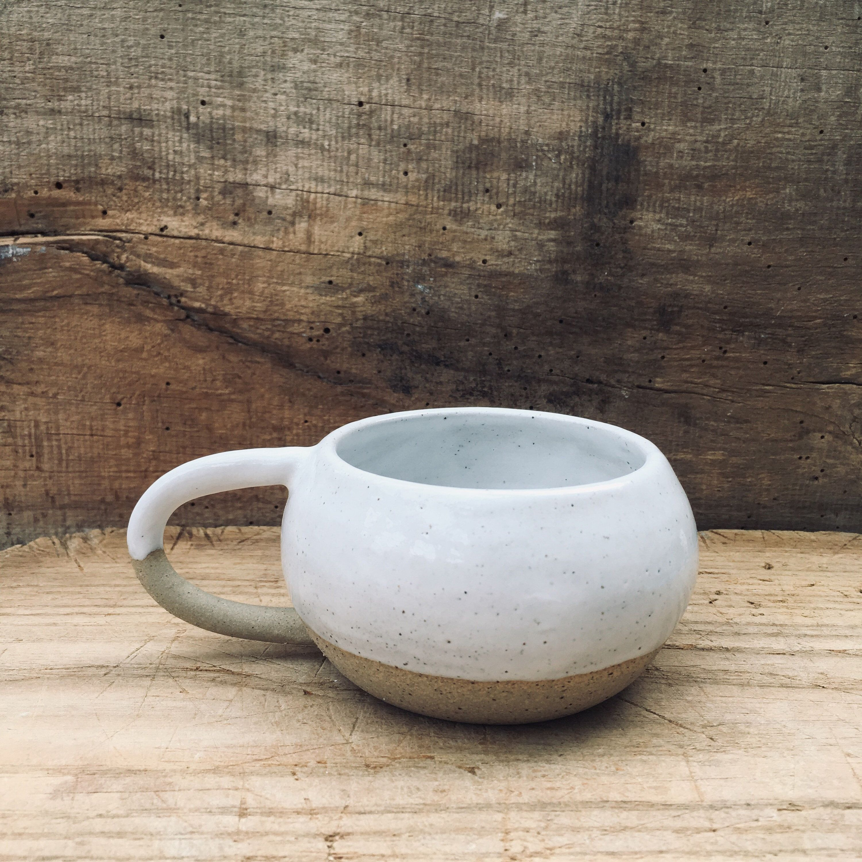 Hand Thrown Rustic Stoneware White Glaze Coffee Cup Handmade