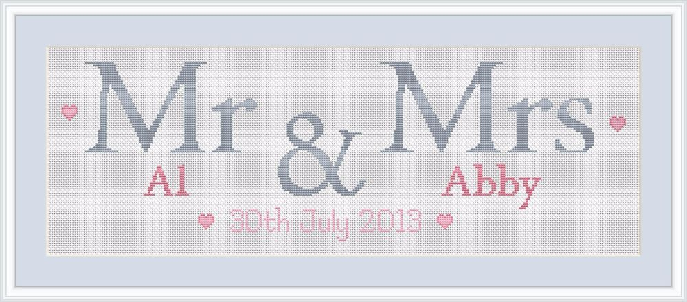 This simple text-based Mr & Mrs wedding sampler would make a great ring pillow design or wall hanging for the happy couple. Each chart includes:- full colour personalized chart (or black and white on request)- full instructions- DMC thread colours & lengths- Fabric requirements for 14, 16 & 18 count aida Charts are designed and emailed within 5 working days of payment.Please note that this purchase is for the CHART ONLY and not a full kit. The example shown above measu...