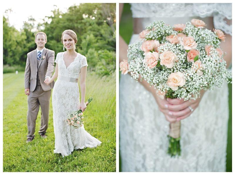 Babys Breath Carnations Wedding Bouquet Kansas City Photographer Heather Brulez Photography