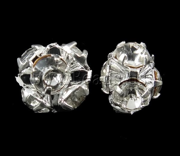 Brass Jewelry Finding, silver color plated, with rhinestone, nickel, lead & cadmium free, 7x6.5mm, 100PCs/Bag,china wholesale jewelry beads****0,076/ $0,06
