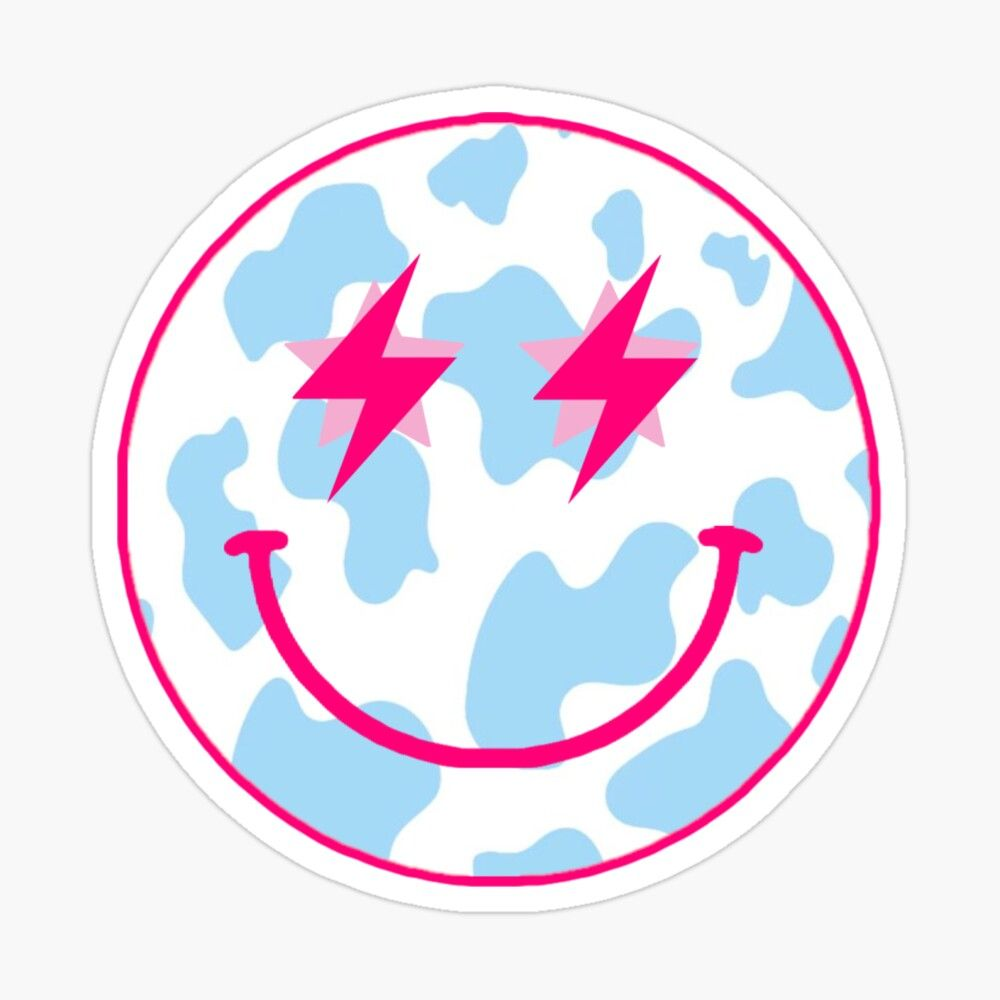 pink and blue cow print smiley Sticker