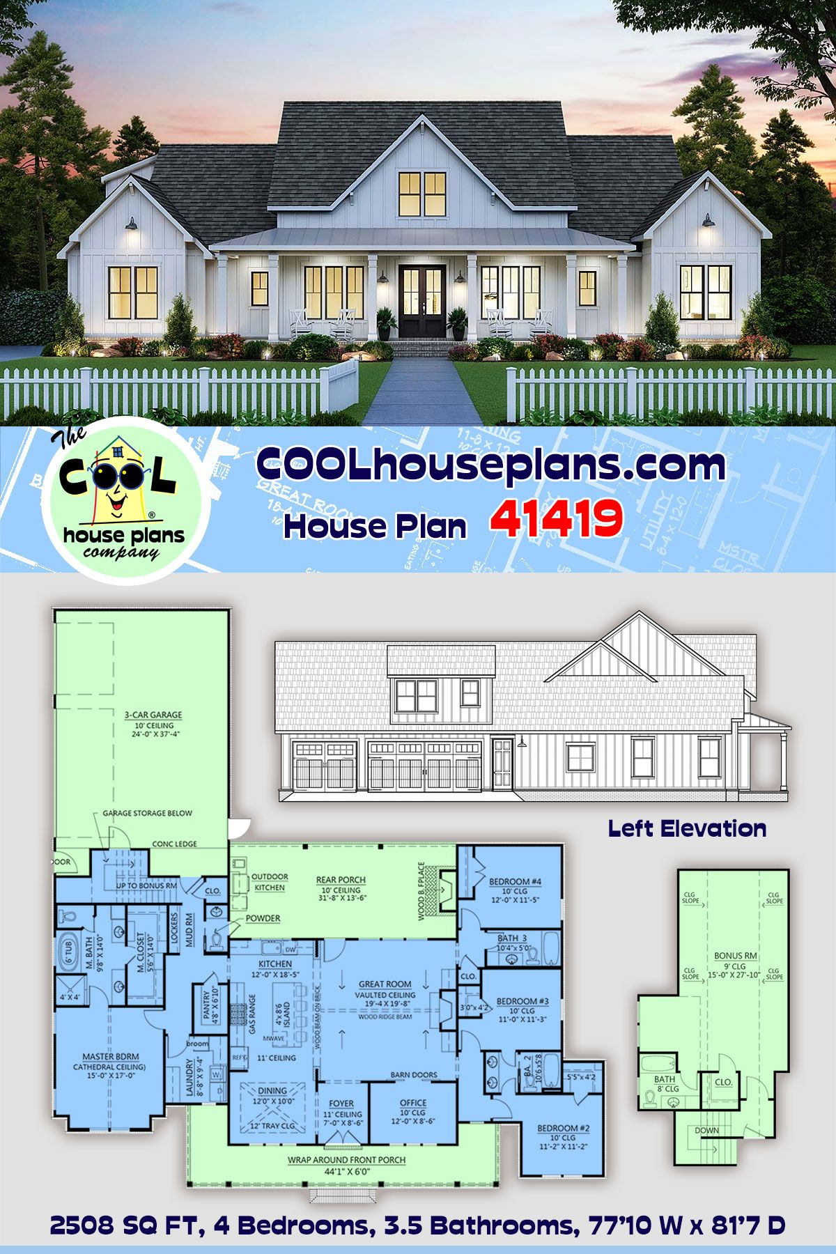 Farmhouse Style House Plan 41419 with 4 Bed, 4 Bat