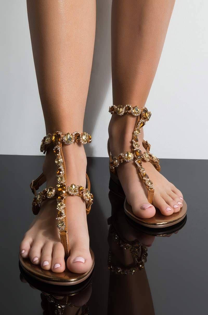 65fa801b19c5 Flat Buckled Up Glitter Ankle Strap Rhinestone Leaf Thong Sandals in  Champagne