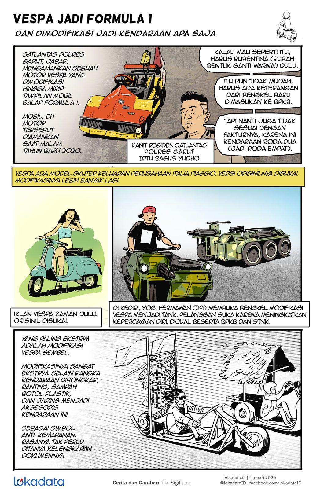 Komik Modifikasi Vespa Dari F1 Sampai Tank Vespa Formula 1 Komik
