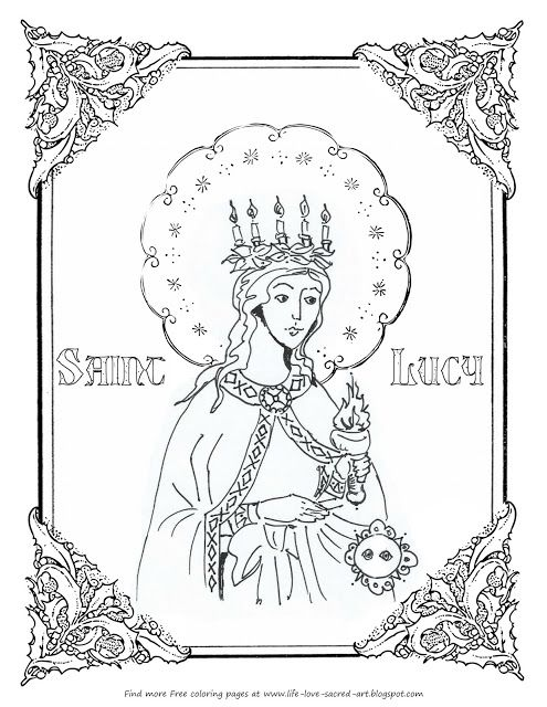 Free St Lucy Coloring Page With Images Coloring Pages Sacred