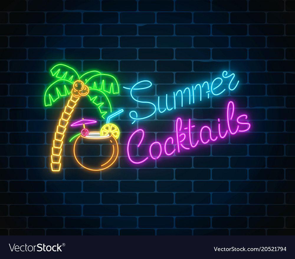 Neon Summer Cocktail Bar Sign On Dark Brick Wall Vector Image On Vectorstock Bar Signs Cool Neon Signs Neon