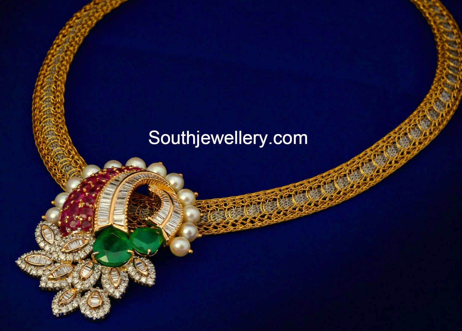 Italian Chain with Diamond Pendant Set - Jewellery Designs ...