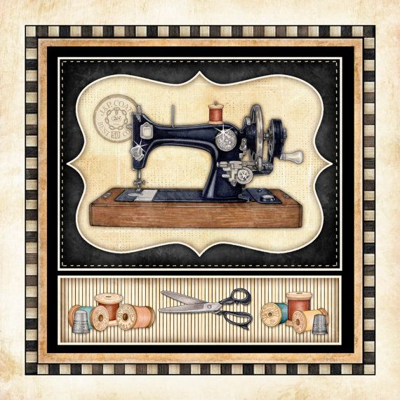 """Sewing Machine Vintage Art Print Dan Morris """"Thimble Pleasures 5"""". Sewing room art, vintage sewing machines, quilt art, gift for quilter,mom"""