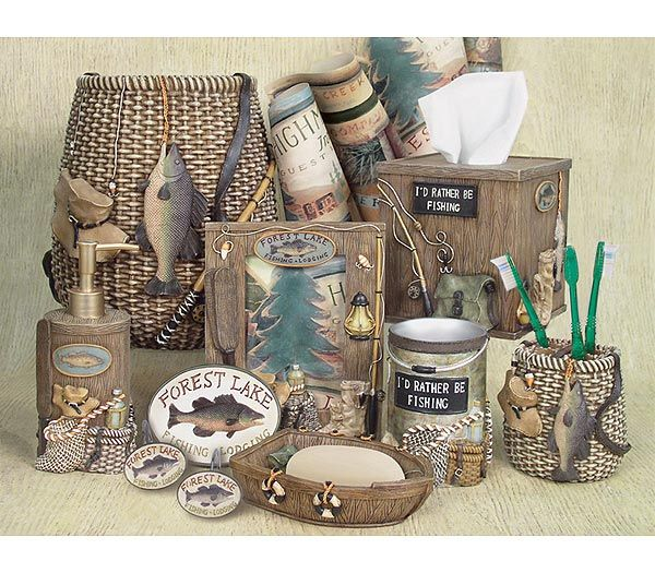 Fishermanu0027s Bathroom Decor | Fishing Lodge Bathroom Accessories Set