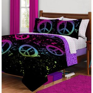 peace sign bedroom decor | Mine | Painted beds, Comforters, Twin ...
