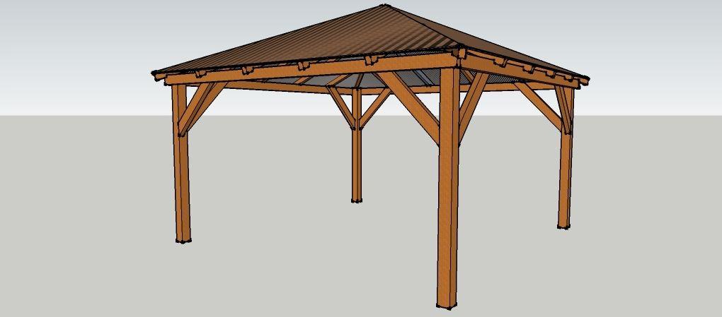 Gartenpavillon 4 x 4 meter mit spitzdach aus holz zum - Gartenpavillon selber bauen ...