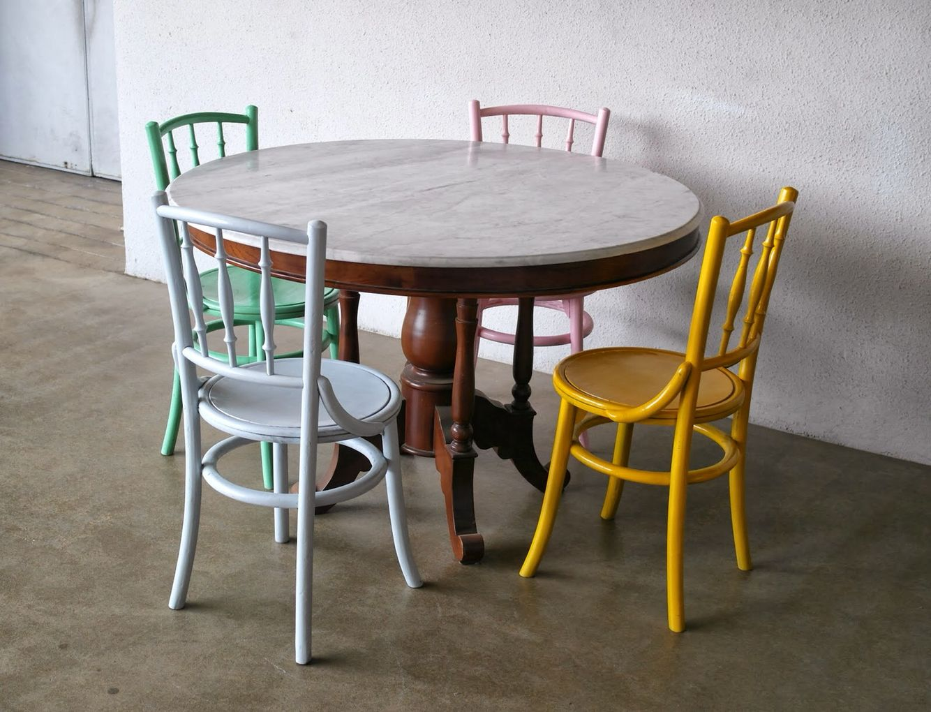 Kopitiam Style Marble Dining Table With 4 Chairs Round Marble
